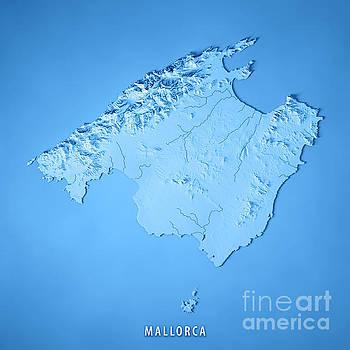 Mallorca Island Spain 3D Render Topographic Map Blue by Frank Ramspott