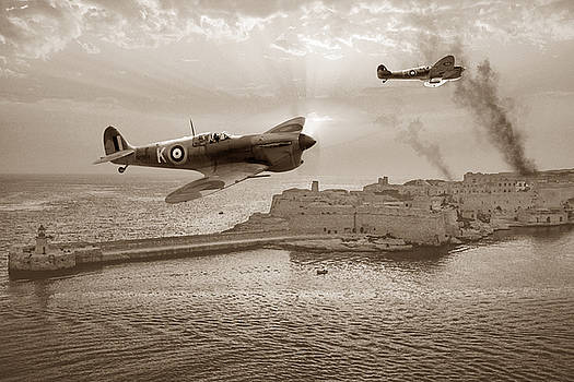 Malta Bastion - Sepia by Mark Donoghue