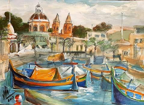 Vali Irina Ciobanu - Malta Marsaxlokk.Traditional fishing Village modern watercolor painting