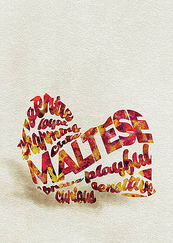 Maltese Dog Watercolor Painting / Typographic Art by Ayse and Deniz