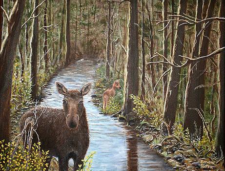 Mama Moose and Calf by Brenda Baker