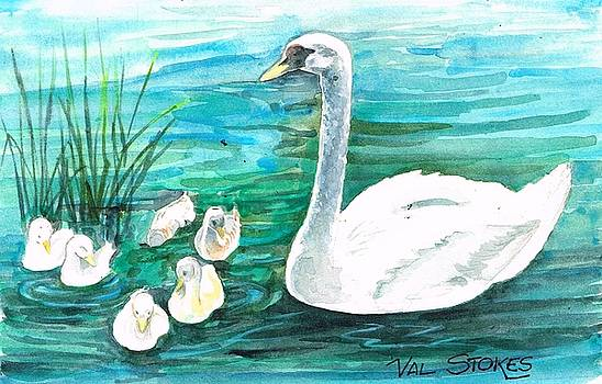 Mama swan and her babies by Val Stokes