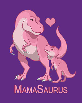 Mama Tyrannosaurus Rex Baby Girl by Crista Forest