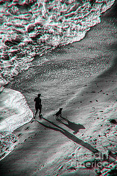 Man And Dog On The Beach by Jeff Breiman