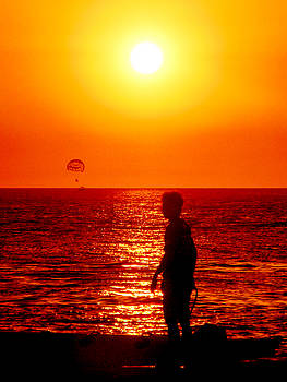Man and Kiteman at Sunset by Pete Marchetto
