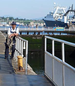 Man at Chittenden Locks by Susan Porter