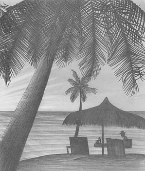 Man in the middle - Beach of palms by Peter Griffen