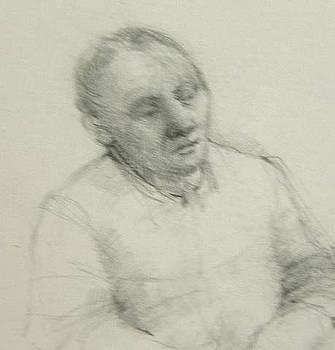 Man leaning by Nancy Berkan