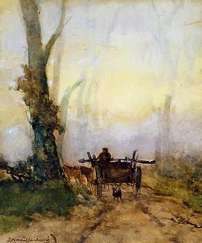 Weissenbruch Johan Hendrik - Man On A Cart In Wood