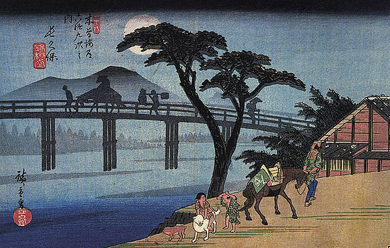 Utagawa Hiroshige - Man On Horseback Crossing A Bridge