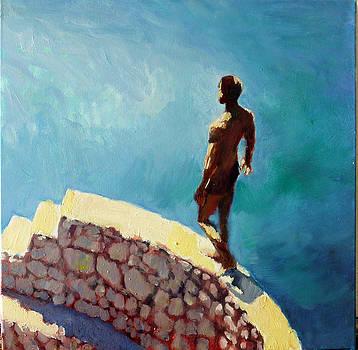 Man on Sea Wall, Taormina by Nicholas Stedman
