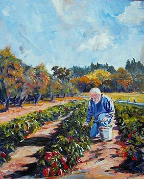 Man Picking Peppers by Margaret Plumb
