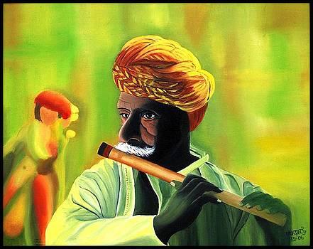 Man playing Flute by Usha Rai
