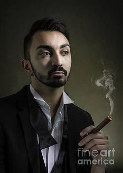 Man Smoking A Cigar by Amanda Elwell