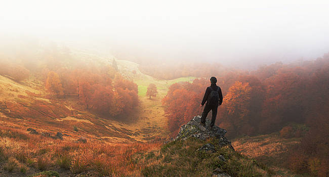 Man stands on background of autumn landscape by Sergey Ryzhkov