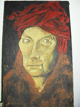 Man with a red turban by Lazar Caran
