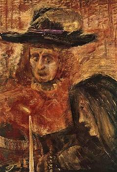 Man With Hat And Woman With Black Scarf 1915 by Gulacsy Lajos