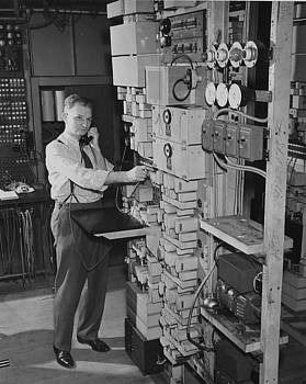 Chicago and North Western Historical Society - Man Working With Chicago Teleprinter