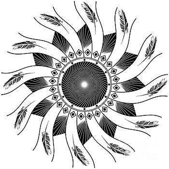 Mandala black and white by Linda Lees