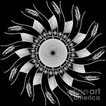 Mandala white and black by Linda Lees