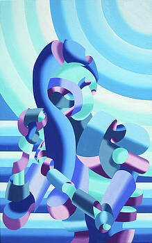 Mandy Brushing Her Hair - Abstract Figurative Oil Painting by Mark Webster by Mark Webster