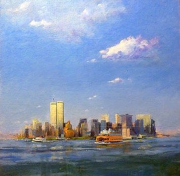 Manhattan and Twin Towers from New York Harbor by Peter Salwen