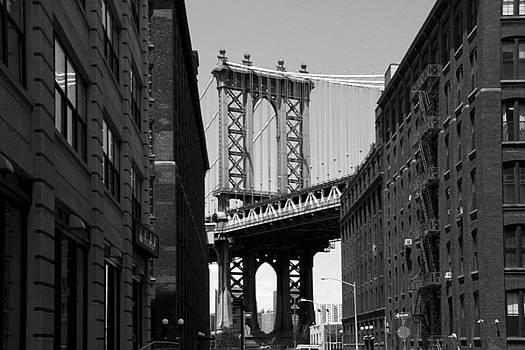 Manhattan Bridge Black and White by Donna Betancourt