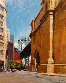 Manhattan Bridge from  Front Street, Brooklyn by Peter Salwen