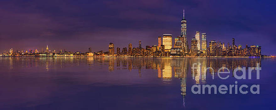 Manhattan, New York At Dusk Panoramic View by Laurent Lucuix