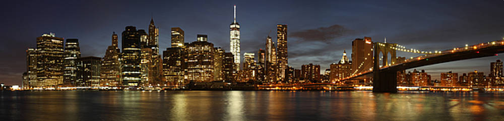 Manhattan Skyline at night - Panorama by Nathan Rupert