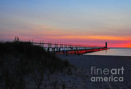 Terri Gostola - Manistee North Pierhead Lighthouse Twilight