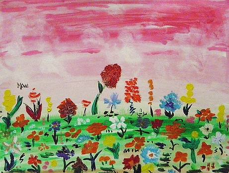 Many Flowers Under Pink Sky by Mary Carol Williams