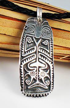 Maori Tribal Ancestor Shield Surfer Pendant - Necklace - Keyring by Vagabond Folk Art - Virginia Vivier