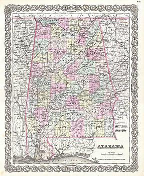 Joseph Hutchins Colton - Map of Alabama