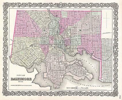 Joseph Hutchins Colton - Map of Baltimore. Maryland