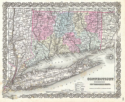 Joseph Hutchins Colton - Map of Connecticut and Long Island