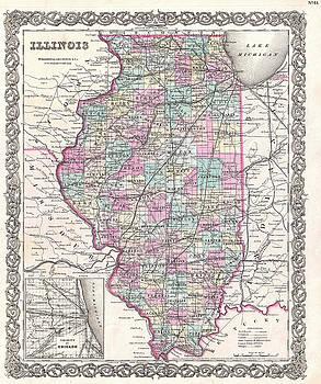 Joseph Hutchins Colton - Map of Illinois