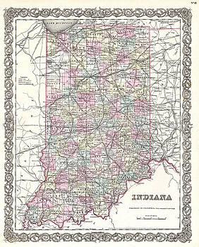 Joseph Hutchins Colton - Map of Indiana