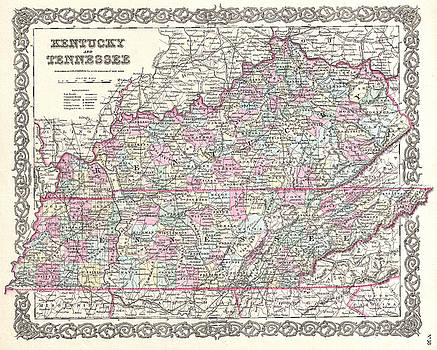 Joseph Hutchins Colton - Map of Kentucky and Tennessee