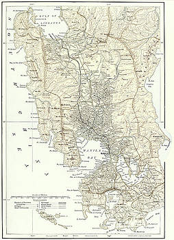 English School -  Map of Manila, Philippines and the seat of war during the Spanish-American War of 1898