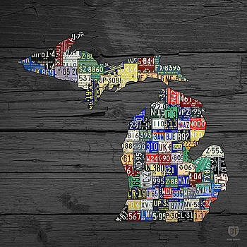 Map of Michigan Counties License Plate Art by License Plate Art and Maps
