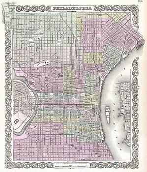 Joseph Hutchins Colton - Map of Philadelphia. Pennsylvania