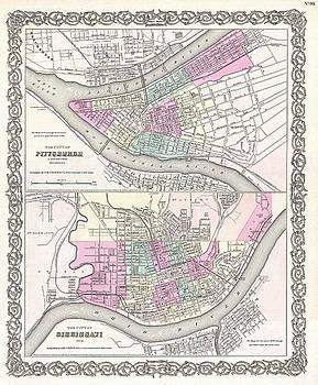 Joseph Hutchins Colton - Map of Pittsburgh Pennsylvania and Cincinnati Ohio