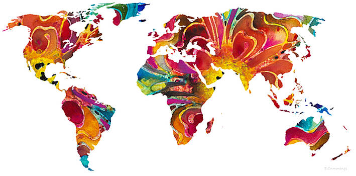 Sharon Cummings - Map of The World 2 -Colorful Abstract Art