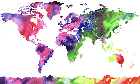 Map Of The World Bright Watercolour by Irina Sztukowski