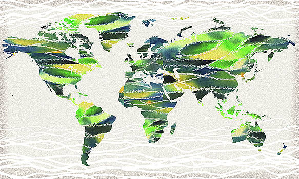 Map Of The World In Watercolor Waves by Irina Sztukowski