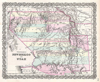 Joseph Hutchins Colton - Map of Utah and New Mexico