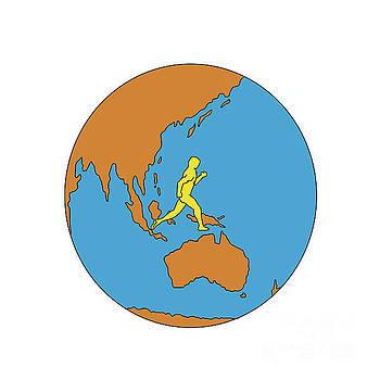 Marathon Runner Running Around World Asia Pacific Drawing by Aloysius Patrimonio