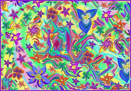 Marbled Colours with Flowers I by Julia Woodman