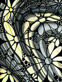 Sharon Cummings - Marbled - Gray And Yellow Flower Art By Sharon Cummings